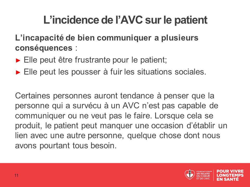 L'incidence de l'AVC sur le patient L'incapacité de bien communiquer a plusieurs conséquences : ► Elle peut être frustrante pour le patient; ► Elle pe