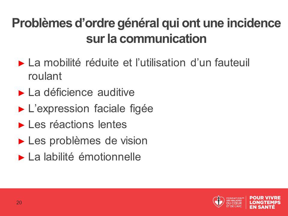 Problèmes d'ordre général qui ont une incidence sur la communication ► La mobilité réduite et l'utilisation d'un fauteuil roulant ► La déficience audi