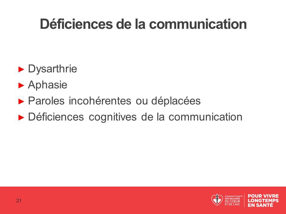 Déficiences de la communication ► Dysarthrie ► Aphasie ► Paroles incohérentes ou déplacées ► Déficiences cognitives de la communication 21