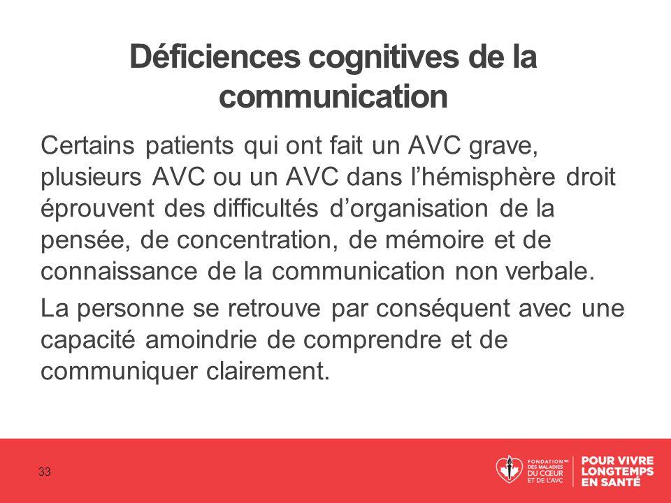Déficiences cognitives de la communication Certains patients qui ont fait un AVC grave, plusieurs AVC ou un AVC dans l'hémisphère droit éprouvent des