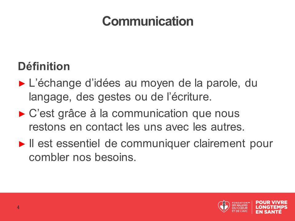 Communication Définition ► L'échange d'idées au moyen de la parole, du langage, des gestes ou de l'écriture. ► C'est grâce à la communication que nous