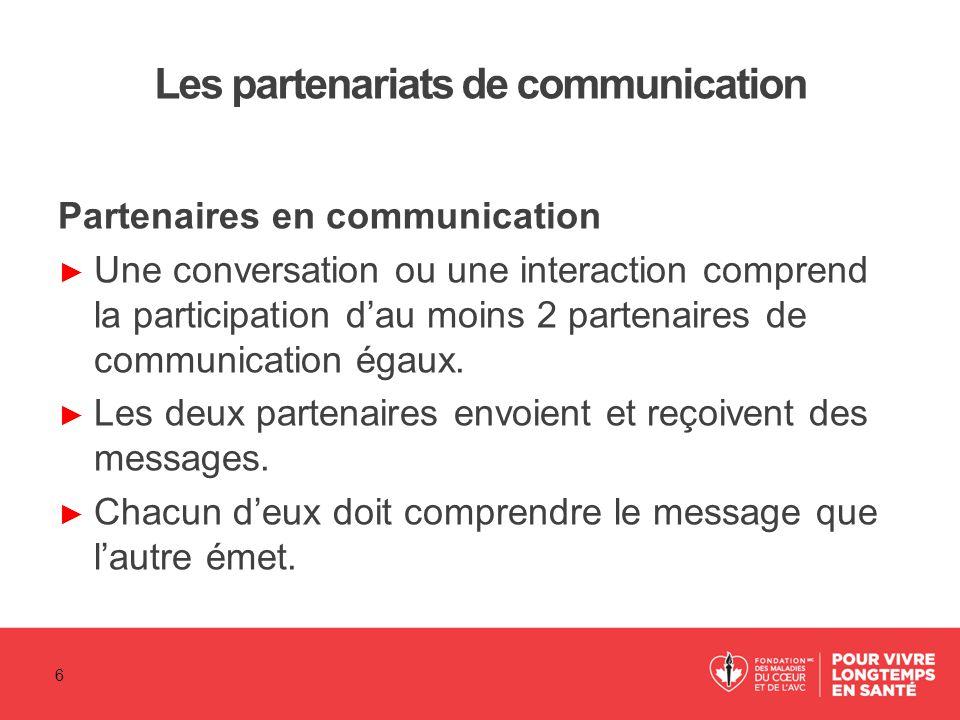 Les partenariats de communication Partenaires en communication ► Une conversation ou une interaction comprend la participation d'au moins 2 partenaire