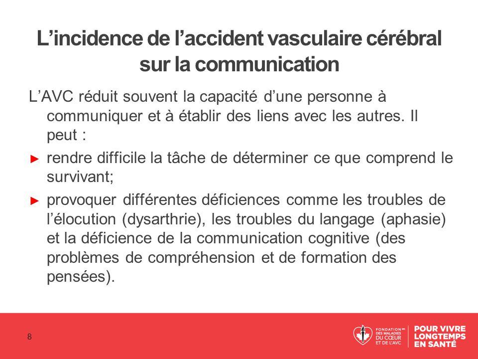 L'incidence de l'accident vasculaire cérébral sur la communication ► Une faiblesse musculaire changera dans certains cas l'expression faciale ou empêchera la personne de se tourner pour faire face à la personne qui parle.