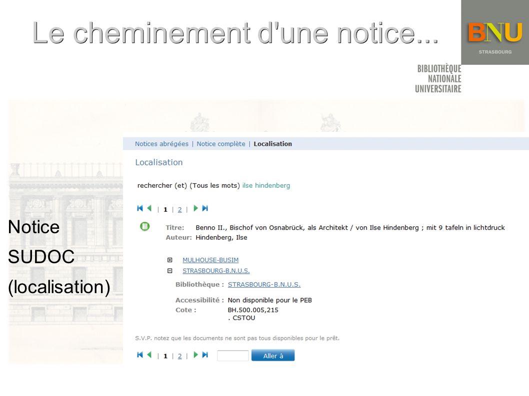 Le cheminement d une notice... Le cheminement d une notice... Notice SUDOC (localisation)
