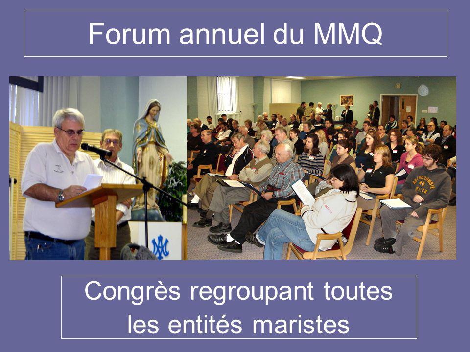 Forum annuel du MMQ Congrès regroupant toutes les entités maristes