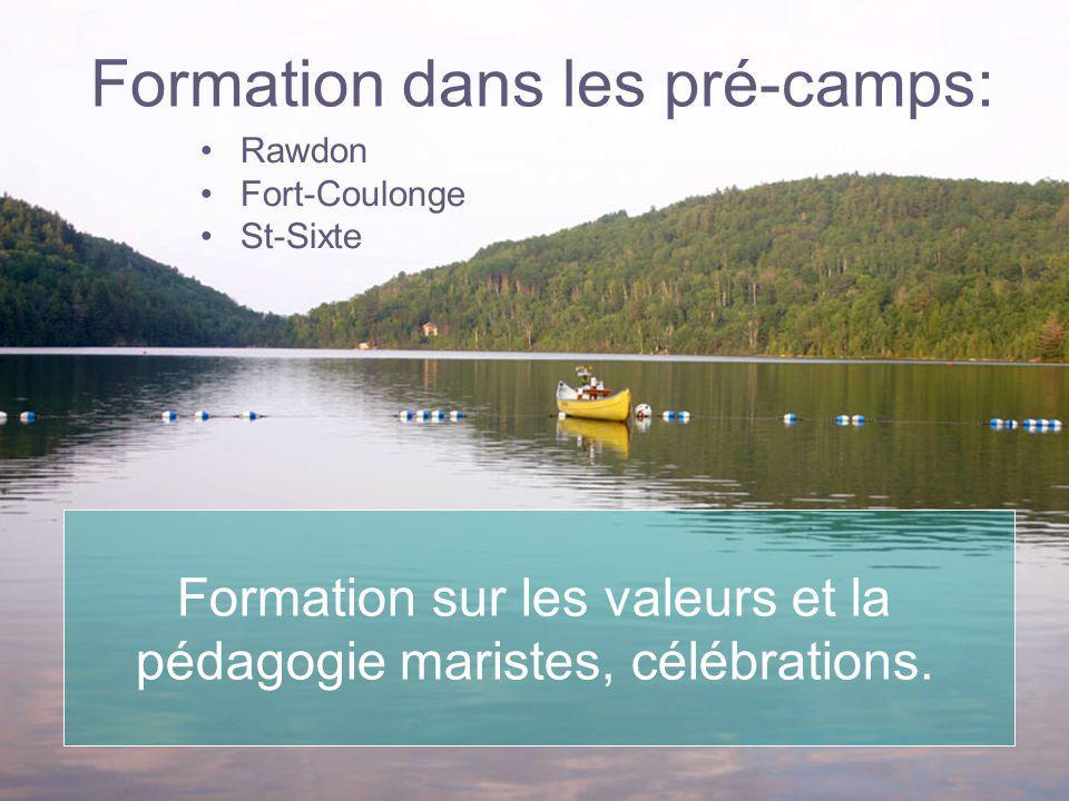 Formation dans les pré-camps: Rawdon Fort-Coulonge St-Sixte Formation sur les valeurs et la pédagogie maristes, célébrations.