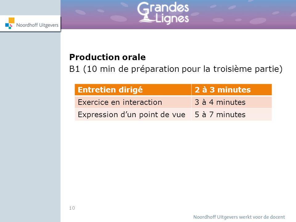 Production orale B1 (10 min de préparation pour la troisième partie) 10 Entretien dirigé2 à 3 minutes Exercice en interaction3 à 4 minutes Expression d'un point de vue5 à 7 minutes