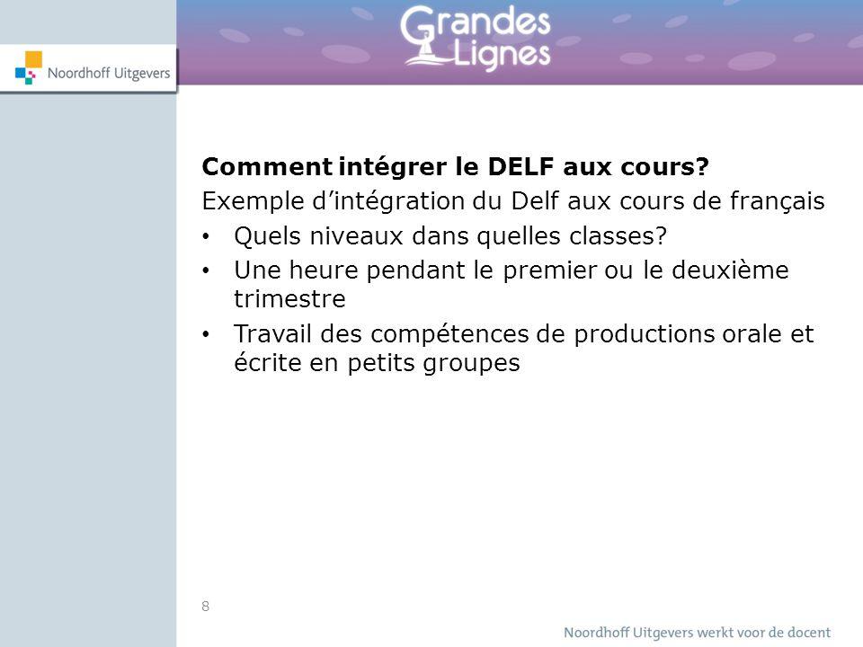 Comment intégrer le DELF aux cours? Exemple d'intégration du Delf aux cours de français Quels niveaux dans quelles classes? Une heure pendant le premi