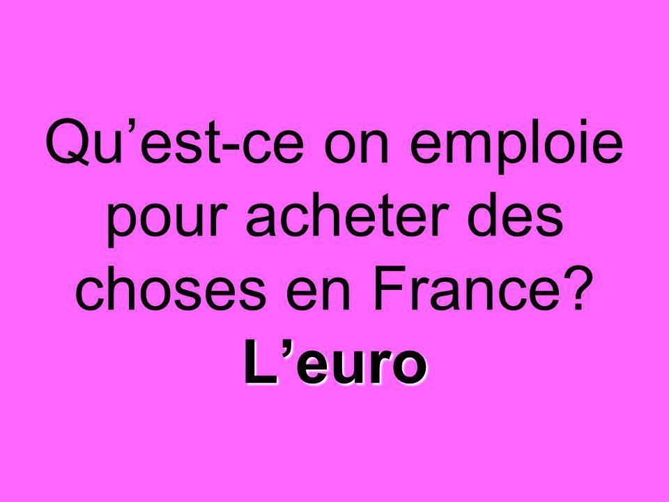 L'euro Qu'est-ce on emploie pour acheter des choses en France? L'euro