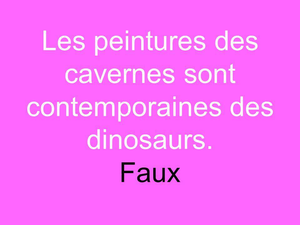 Les peintures des cavernes sont contemporaines des dinosaurs. Faux