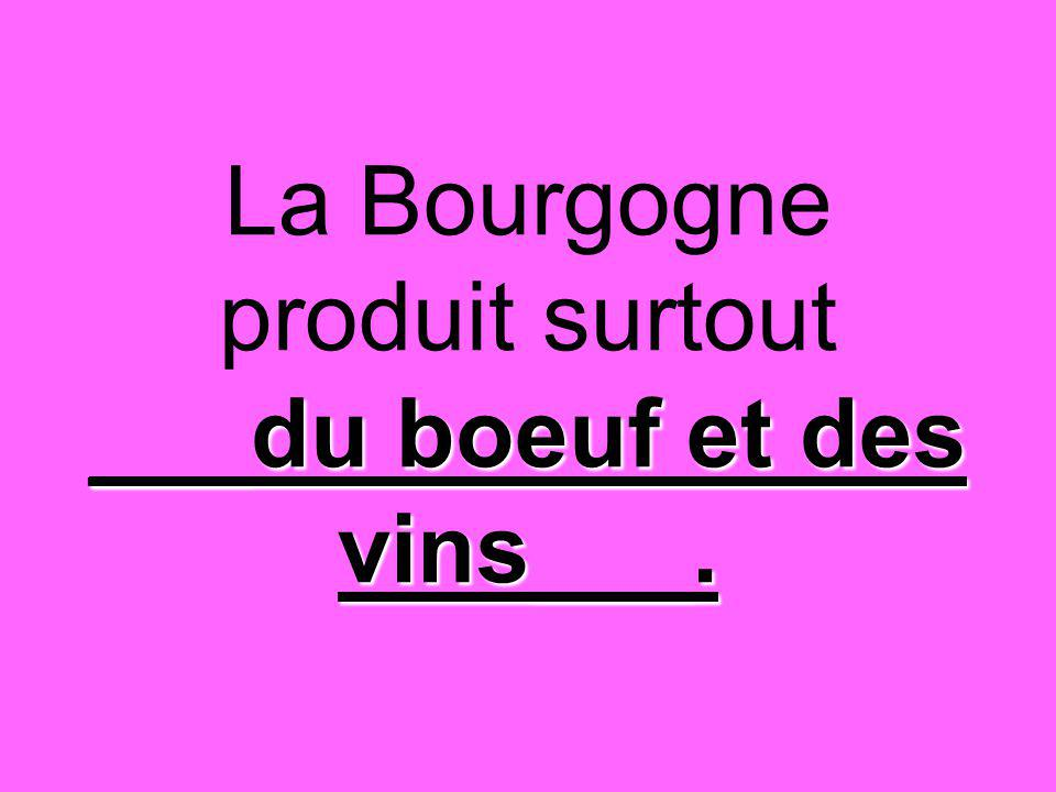 ___du boeuf et des vins___. La Bourgogne produit surtout ___du boeuf et des vins___.