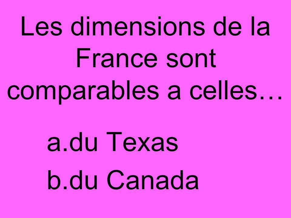 Les dimensions de la France sont comparables a celles… a.du Texas b.du Canada