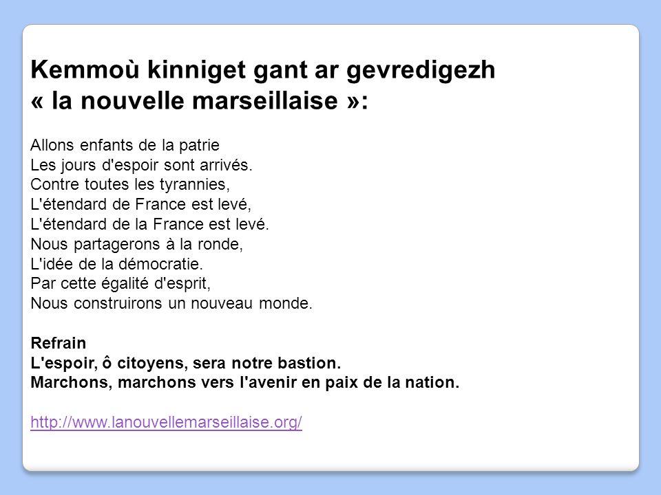 Kemmoù kinniget gant ar gevredigezh « la nouvelle marseillaise »: Allons enfants de la patrie Les jours d'espoir sont arrivés. Contre toutes les tyran