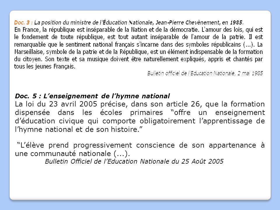 Doc. 5 : L'enseignement de l'hymne national La loi du 23 avril 2005 précise, dans son article 26, que la formation dispensée dans les écoles primaires