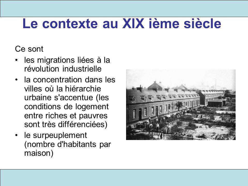 Le contexte au XIX ième siècle Ce sont les migrations liées à la révolution industrielle la concentration dans les villes où la hiérarchie urbaine s'a