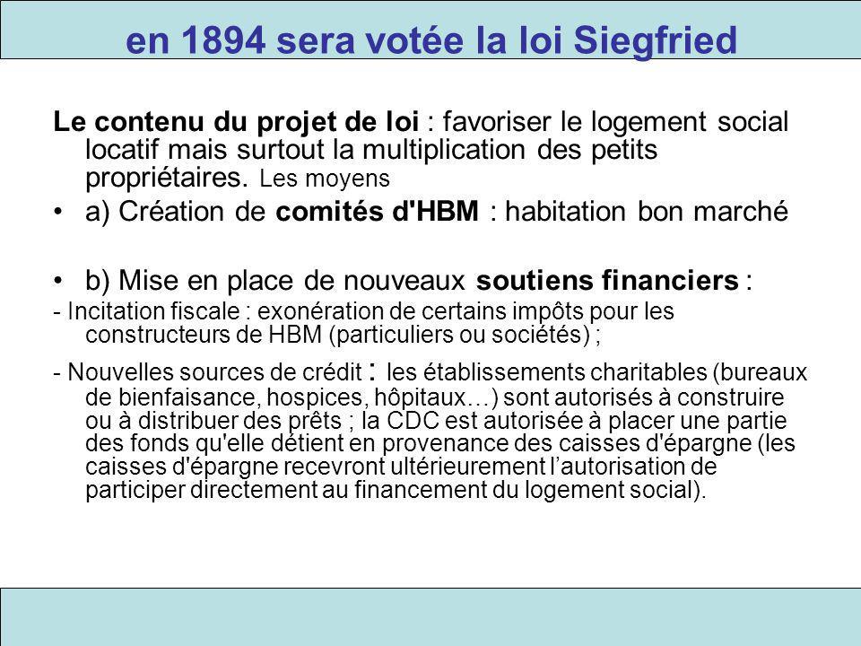en 1894 sera votée la loi Siegfried Le contenu du projet de loi : favoriser le logement social locatif mais surtout la multiplication des petits propr
