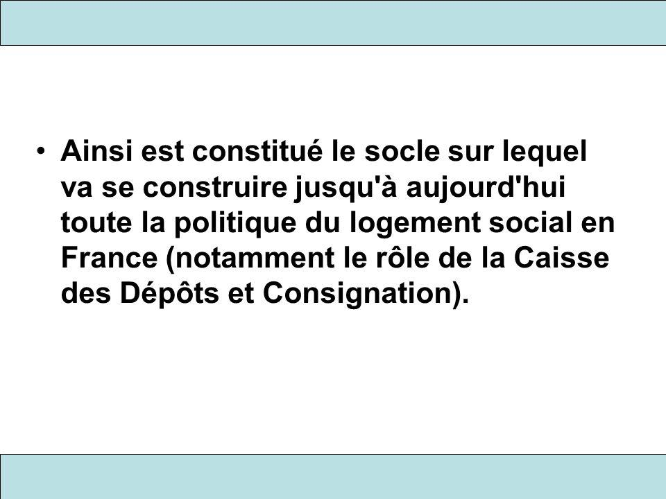Ainsi est constitué le socle sur lequel va se construire jusqu'à aujourd'hui toute la politique du logement social en France (notamment le rôle de la