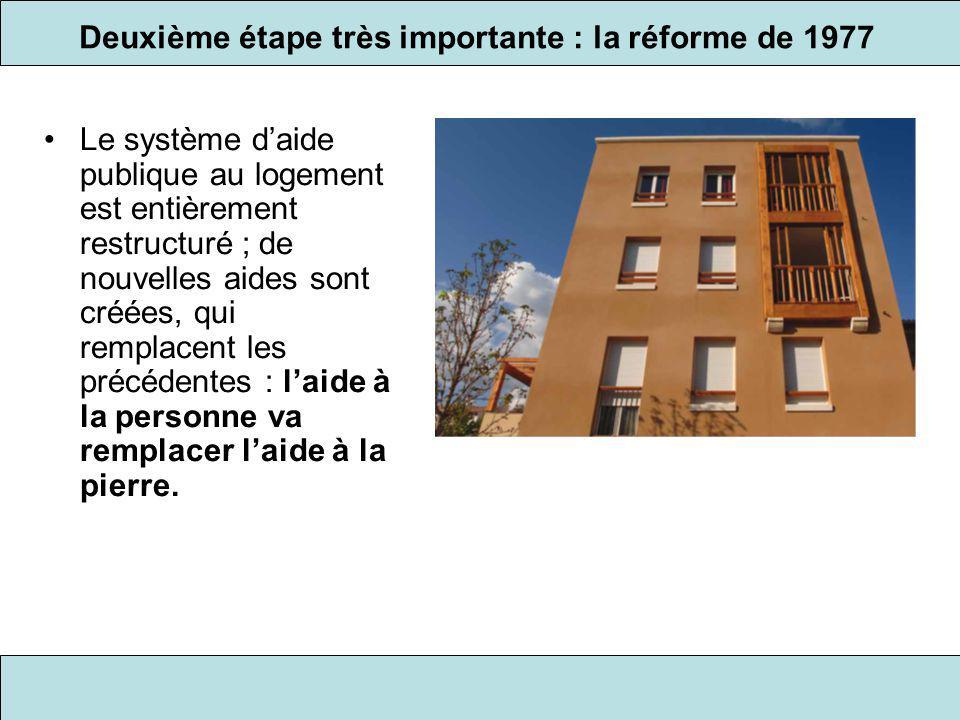Deuxième étape très importante : la réforme de 1977 Le système d'aide publique au logement est entièrement restructuré ; de nouvelles aides sont créée