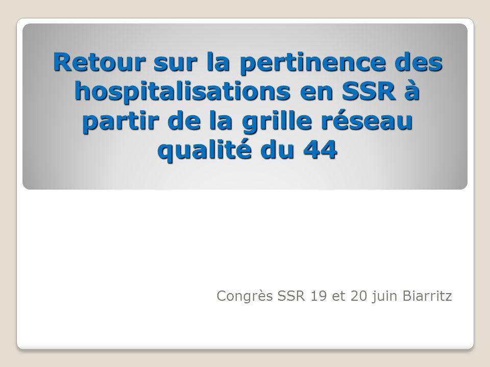 Retour sur la pertinence des hospitalisations en SSR à partir de la grille réseau qualité du 44 Congrès SSR 19 et 20 juin Biarritz