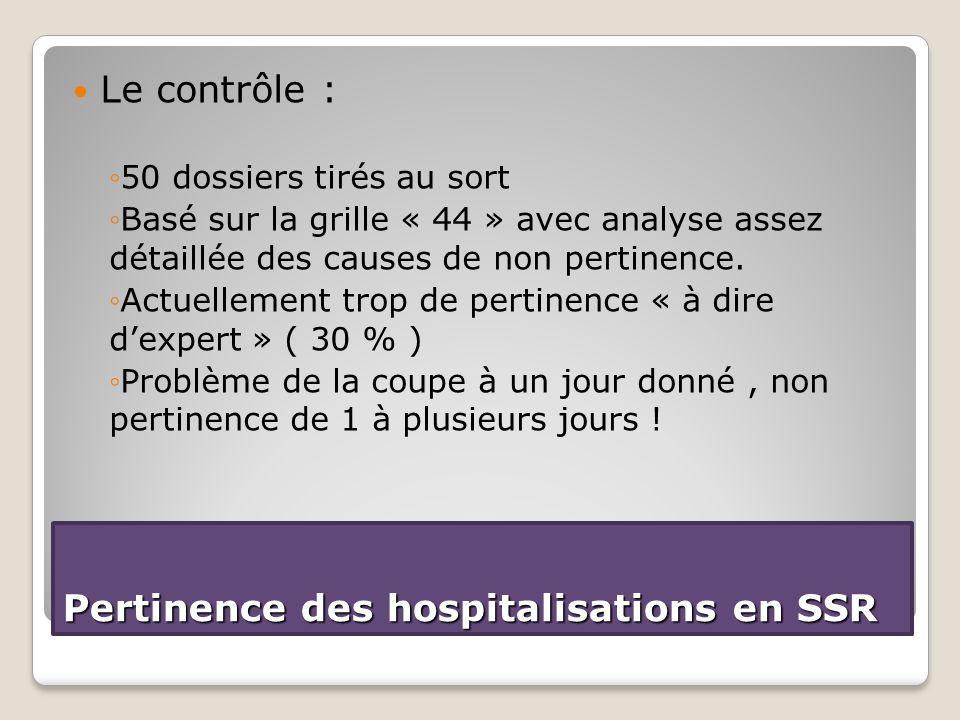 Le contrôle : ◦50 dossiers tirés au sort ◦Basé sur la grille « 44 » avec analyse assez détaillée des causes de non pertinence. ◦Actuellement trop de p