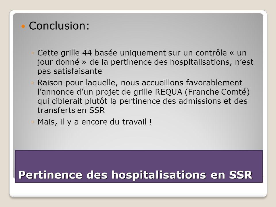 Conclusion: ◦Cette grille 44 basée uniquement sur un contrôle « un jour donné » de la pertinence des hospitalisations, n'est pas satisfaisante ◦Raison