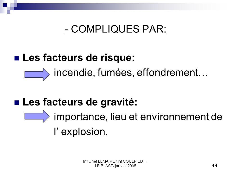 Inf.Chef LEMAIRE / Inf COULPIED - LE BLAST- janvier 200514 - COMPLIQUES PAR: Les facteurs de risque: incendie, fumées, effondrement… Les facteurs de g