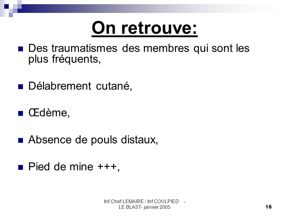 Inf.Chef LEMAIRE / Inf COULPIED - LE BLAST- janvier 200518 On retrouve: Des traumatismes des membres qui sont les plus fréquents, Délabrement cutané,