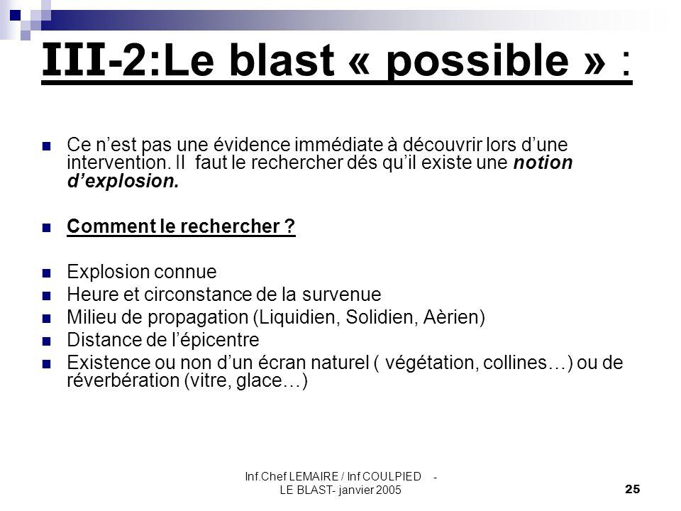 Inf.Chef LEMAIRE / Inf COULPIED - LE BLAST- janvier 200525 Ce n'est pas une évidence immédiate à découvrir lors d'une intervention. Il faut le recherc