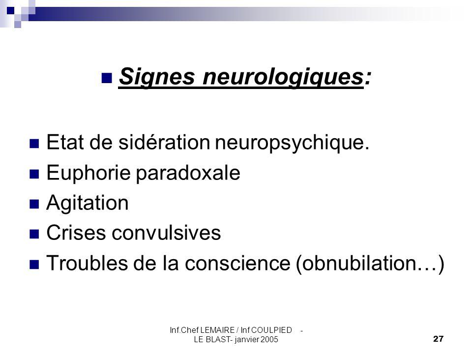 Inf.Chef LEMAIRE / Inf COULPIED - LE BLAST- janvier 200527 Signes neurologiques: Etat de sidération neuropsychique. Euphorie paradoxale Agitation Cris
