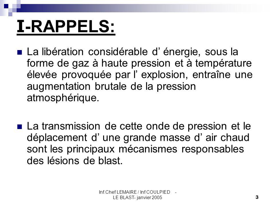 Inf.Chef LEMAIRE / Inf COULPIED - LE BLAST- janvier 20053 I -RAPPELS: La libération considérable d' énergie, sous la forme de gaz à haute pression et
