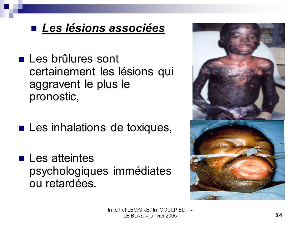 Inf.Chef LEMAIRE / Inf COULPIED - LE BLAST- janvier 200534 Les lésions associées Les brûlures sont certainement les lésions qui aggravent le plus le p
