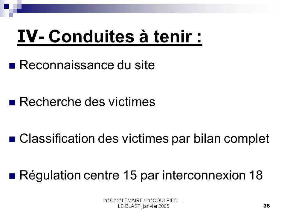Inf.Chef LEMAIRE / Inf COULPIED - LE BLAST- janvier 200536 IV - Conduites à tenir : Reconnaissance du site Recherche des victimes Classification des v