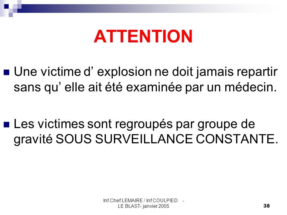 Inf.Chef LEMAIRE / Inf COULPIED - LE BLAST- janvier 200538 ATTENTION Une victime d' explosion ne doit jamais repartir sans qu' elle ait été examinée p
