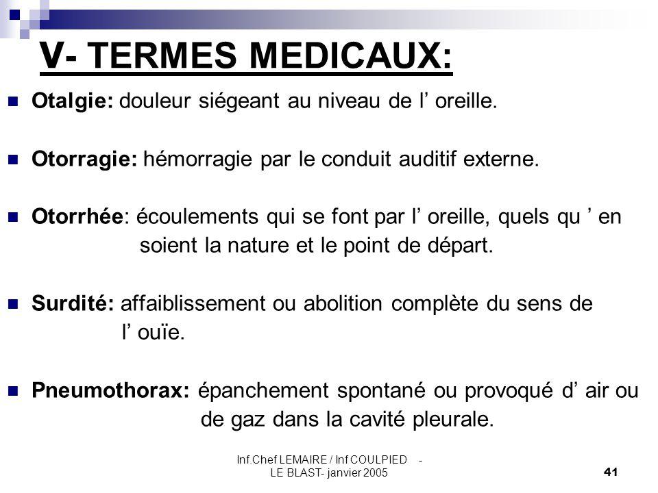 Inf.Chef LEMAIRE / Inf COULPIED - LE BLAST- janvier 200541 V - TERMES MEDICAUX: Otalgie: douleur siégeant au niveau de l' oreille. Otorragie: hémorrag