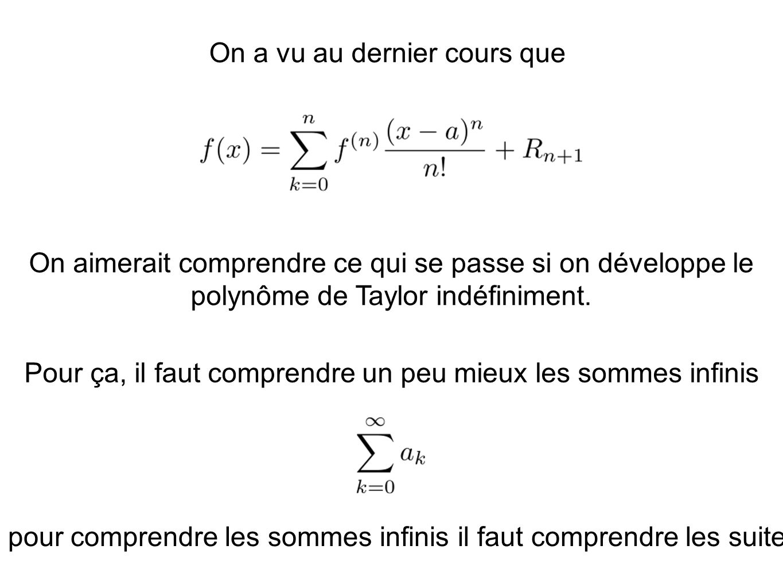 On a vu au dernier cours que On aimerait comprendre ce qui se passe si on développe le polynôme de Taylor indéfiniment. Pour ça, il faut comprendre un