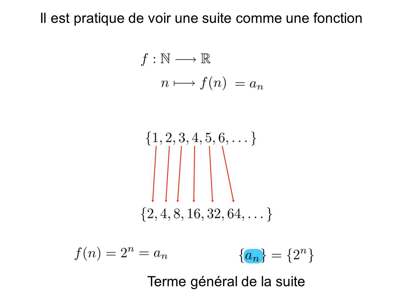 Terme général de la suite Il est pratique de voir une suite comme une fonction
