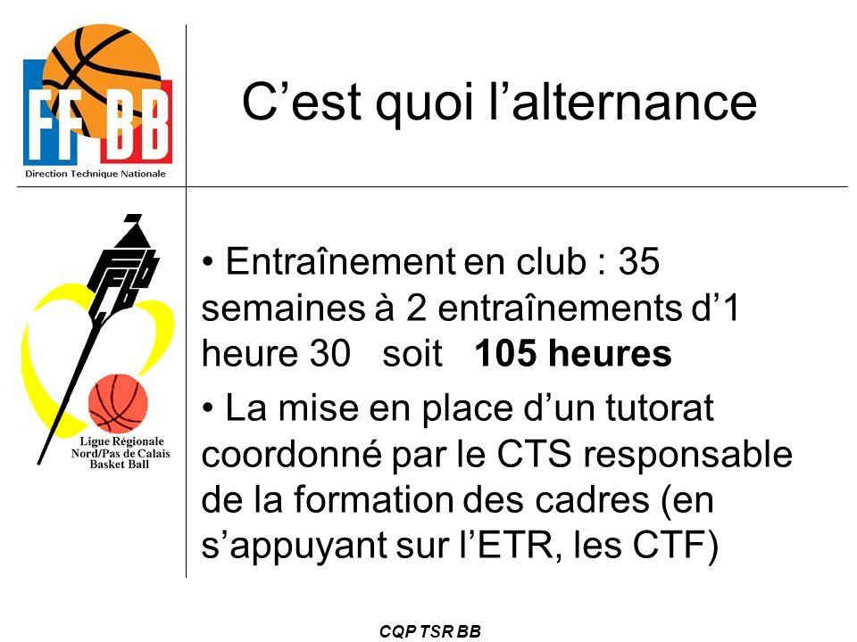 CQP TSR BB C'est quoi l'alternance Entraînement en club : 35 semaines à 2 entraînements d'1 heure 30 soit 105 heures La mise en place d'un tutorat coo