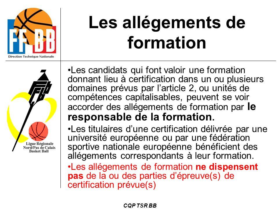 CQP TSR BB Les candidats qui font valoir une formation donnant lieu à certification dans un ou plusieurs domaines prévus par l'article 2, ou unités de