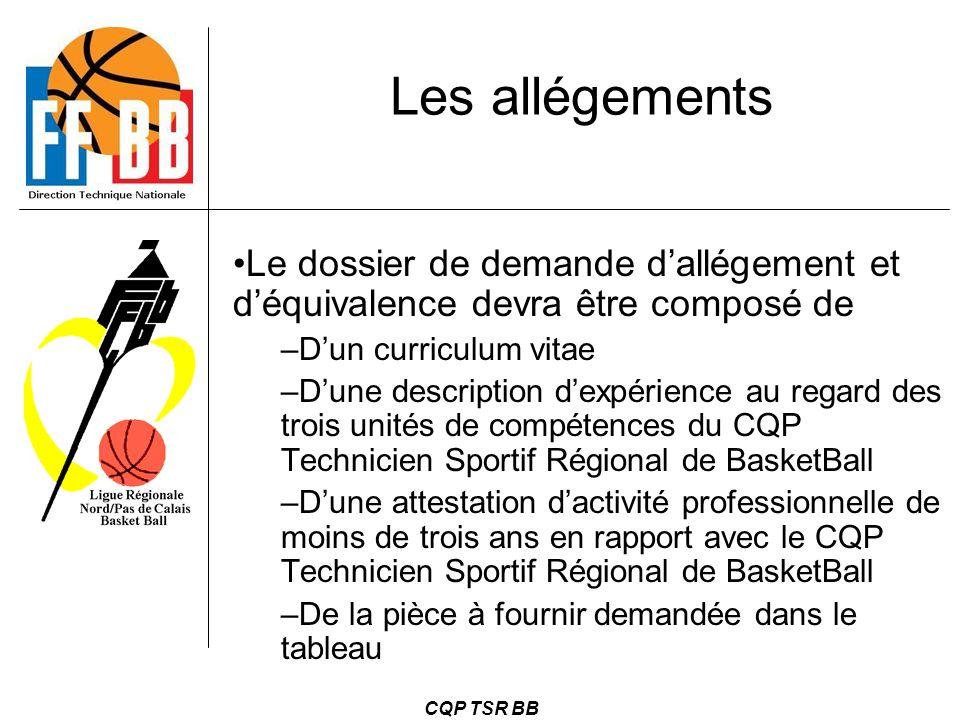 CQP TSR BB Le dossier de demande d'allégement et d'équivalence devra être composé de –D'un curriculum vitae –D'une description d'expérience au regard