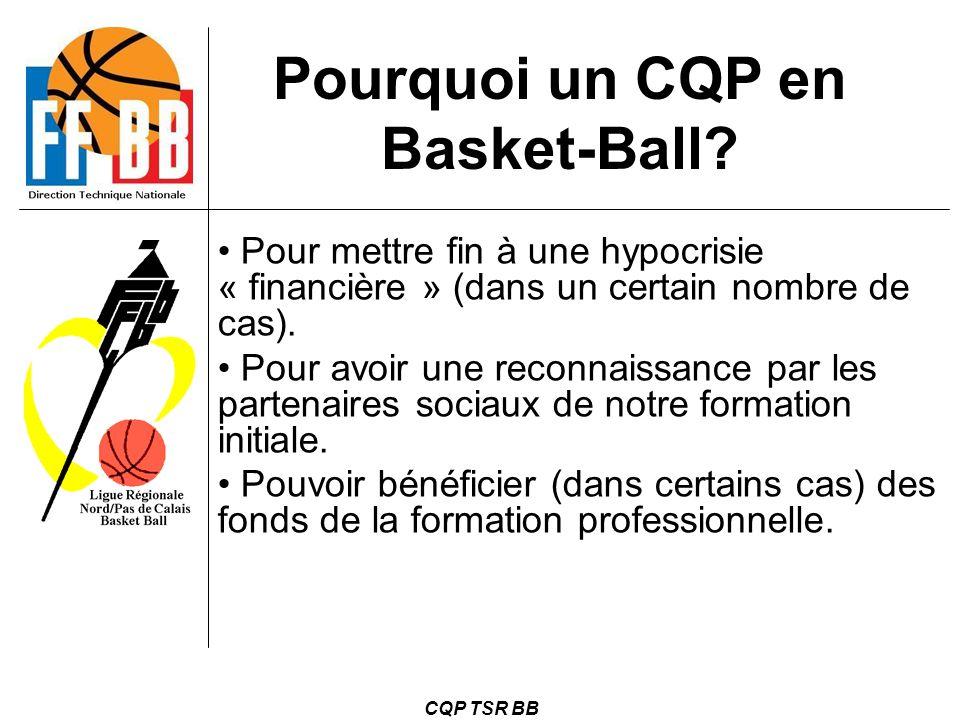 CQP TSR BB Pourquoi un CQP en Basket-Ball? Pour mettre fin à une hypocrisie « financière » (dans un certain nombre de cas). Pour avoir une reconnaissa