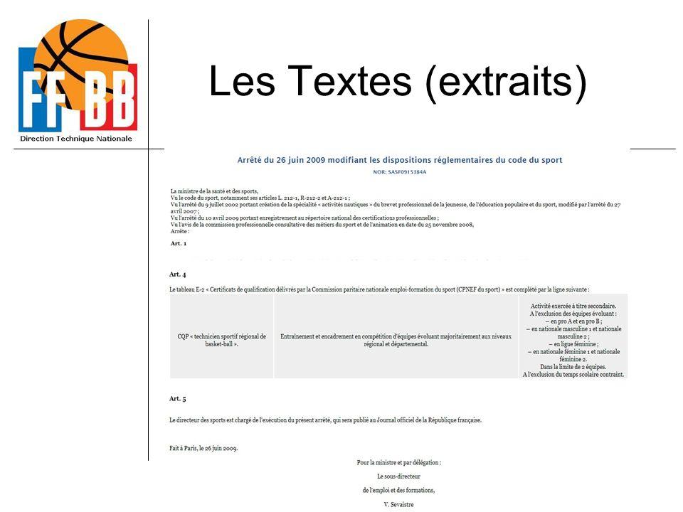 CQP TSR BB Les Textes (extraits)