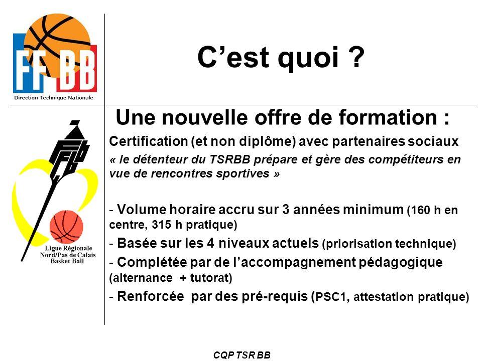 CQP TSR BB C'est quoi ? Une nouvelle offre de formation : Certification (et non diplôme) avec partenaires sociaux « le détenteur du TSRBB prépare et g