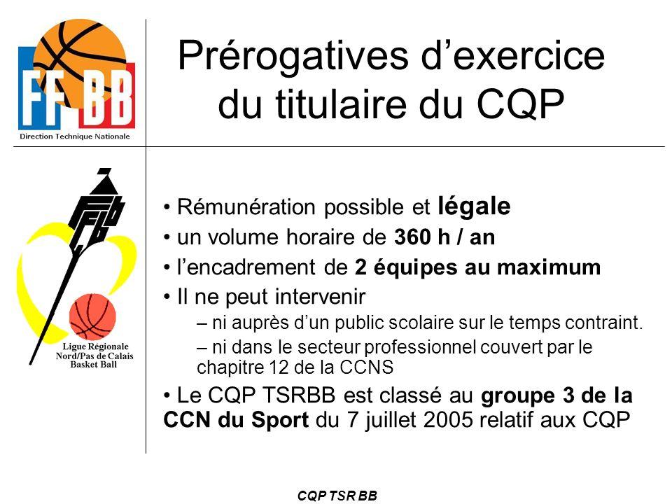 CQP TSR BB Prérogatives d'exercice du titulaire du CQP Rémunération possible et légale un volume horaire de 360 h / an l'encadrement de 2 équipes au m