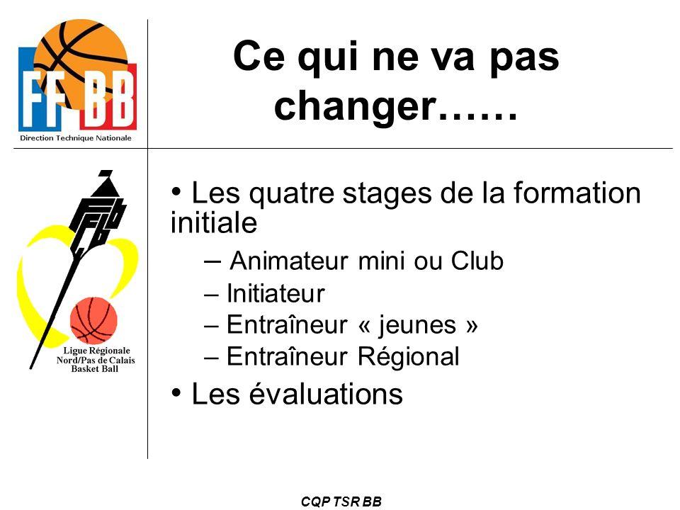 CQP TSR BB Ce qui ne va pas changer…… Les quatre stages de la formation initiale – Animateur mini ou Club – Initiateur – Entraîneur « jeunes » – Entra