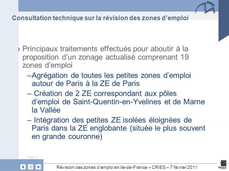 Page 10 Révision des zones d'emploi en Ile-de-France – CRIES – 7 février 2011 Consultation technique sur la révision des zones d'emploi › Principaux t