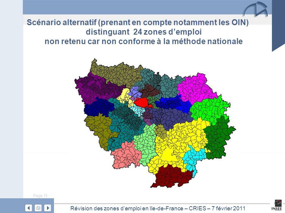 Page 15 Révision des zones d'emploi en Ile-de-France – CRIES – 7 février 2011 Scénario alternatif (prenant en compte notamment les OIN) distinguant 24 zones d'emploi non retenu car non conforme à la méthode nationale