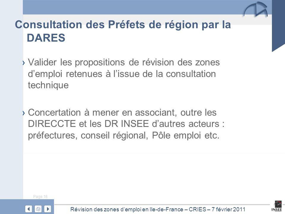 Page 16 Révision des zones d'emploi en Ile-de-France – CRIES – 7 février 2011 Consultation des Préfets de région par la DARES › Valider les propositio