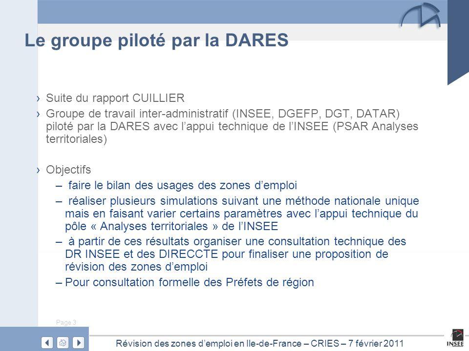 Page 3 Révision des zones d'emploi en Ile-de-France – CRIES – 7 février 2011 › Suite du rapport CUILLIER › Groupe de travail inter-administratif (INSE