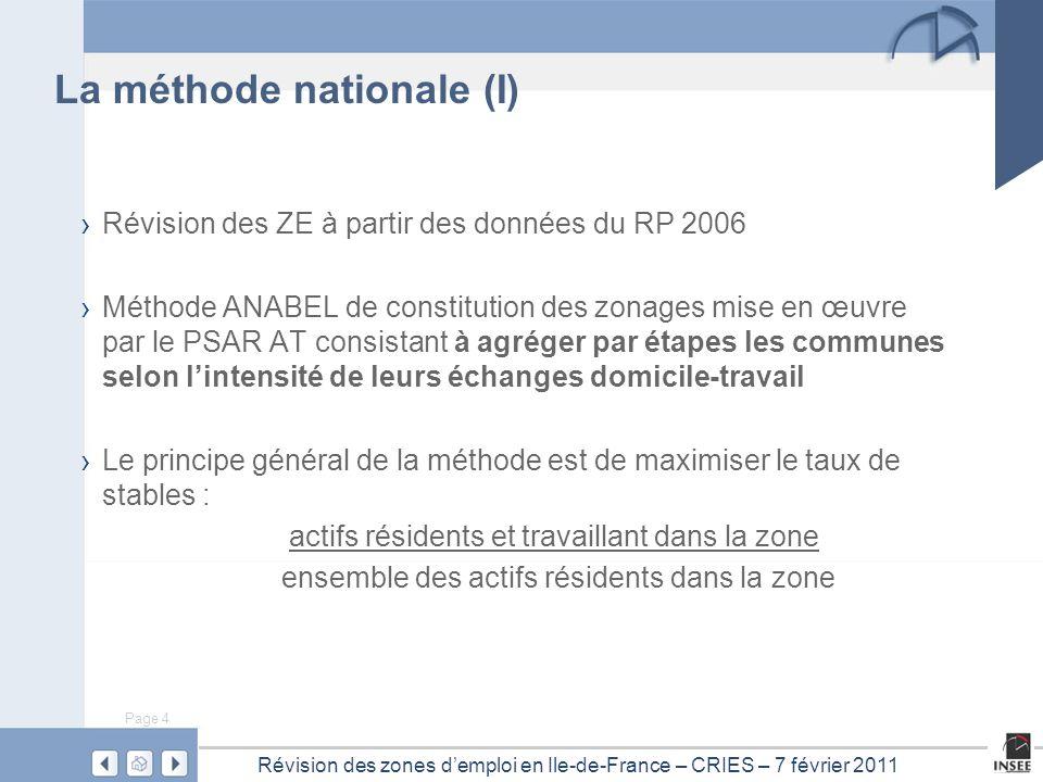 Page 4 Révision des zones d'emploi en Ile-de-France – CRIES – 7 février 2011 › Révision des ZE à partir des données du RP 2006 › Méthode ANABEL de con