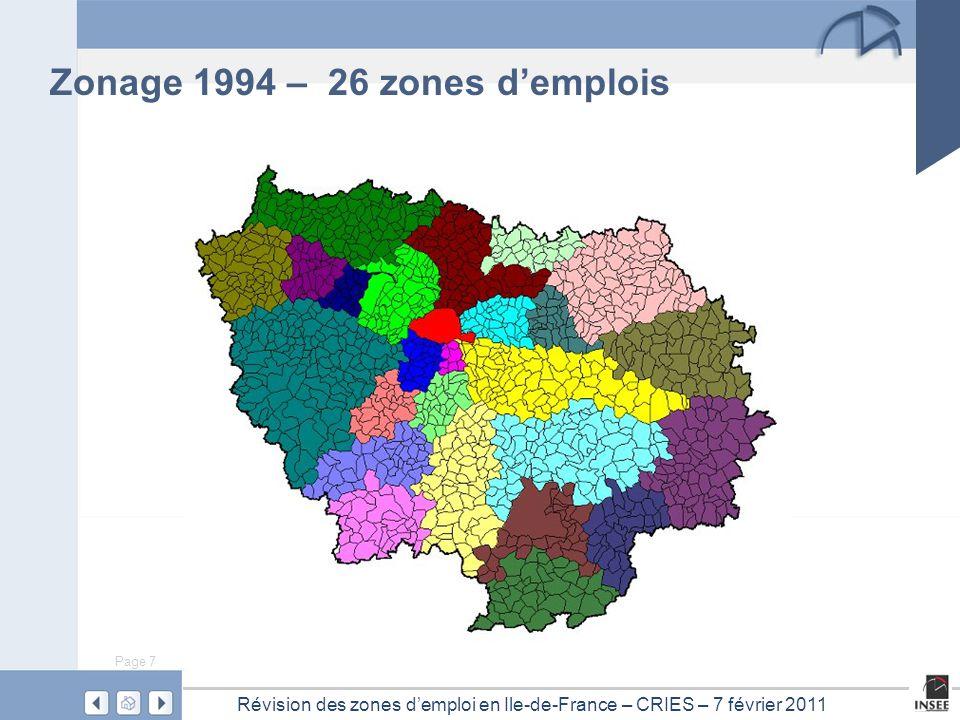Page 7 Révision des zones d'emploi en Ile-de-France – CRIES – 7 février 2011 Zonage 1994 – 26 zones d'emplois